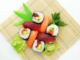 sushi on a bamboo mat