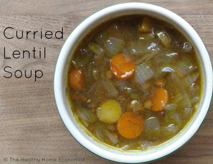 bowl of curried lentil soup