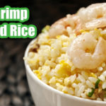 shrimp fried rice in a white bowl