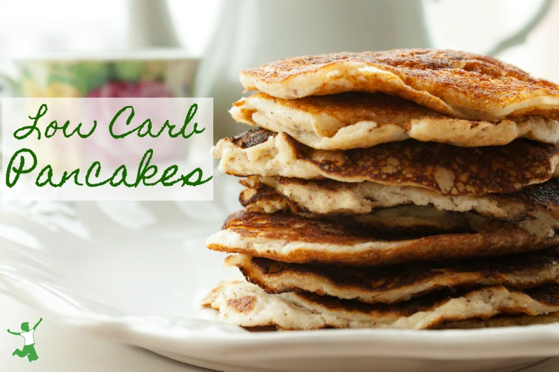 stack of low carb pancakes on a white plate