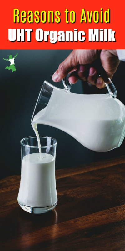 pitcher of UHT milk pouring into a glass