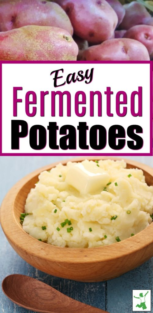 probiotic fermented red potatoes in a wooden bowl