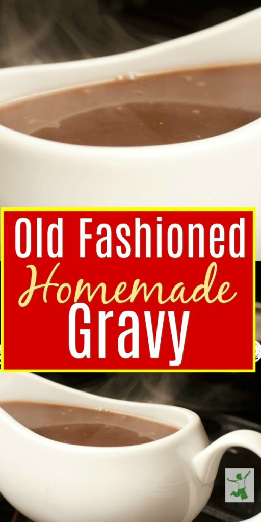 Old fashioned homemade gravy in a sauce boat