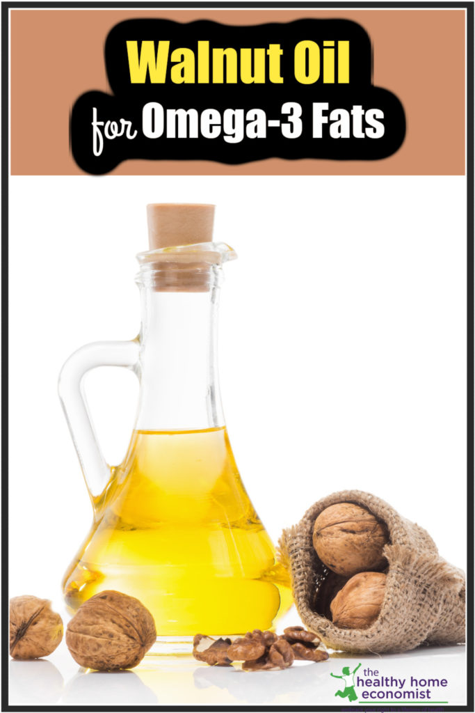 unrefined cold-pressed walnut oil in a glass bottle