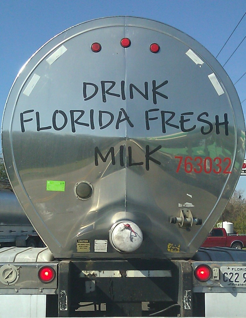 fresh milk in a tanker truck