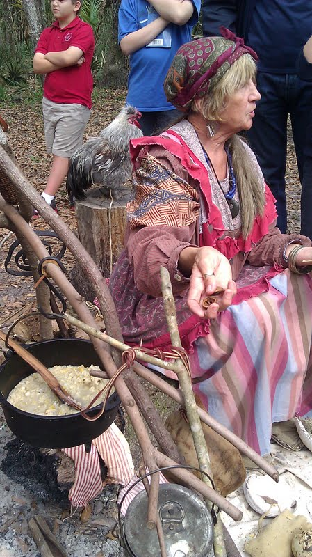 Seminole woman cooking soaked corn gruel