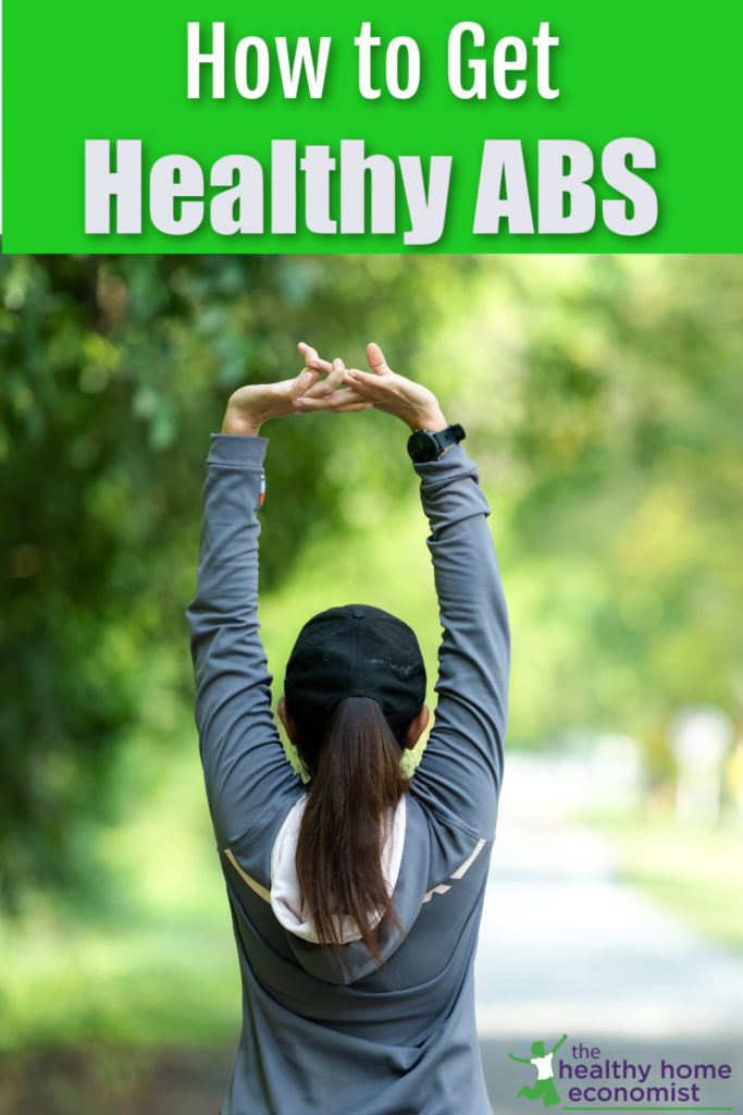 healthy woman with strong abdominal muscles