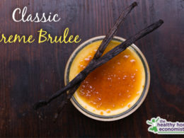 homemade creme brulee in a bowl on wooden counter
