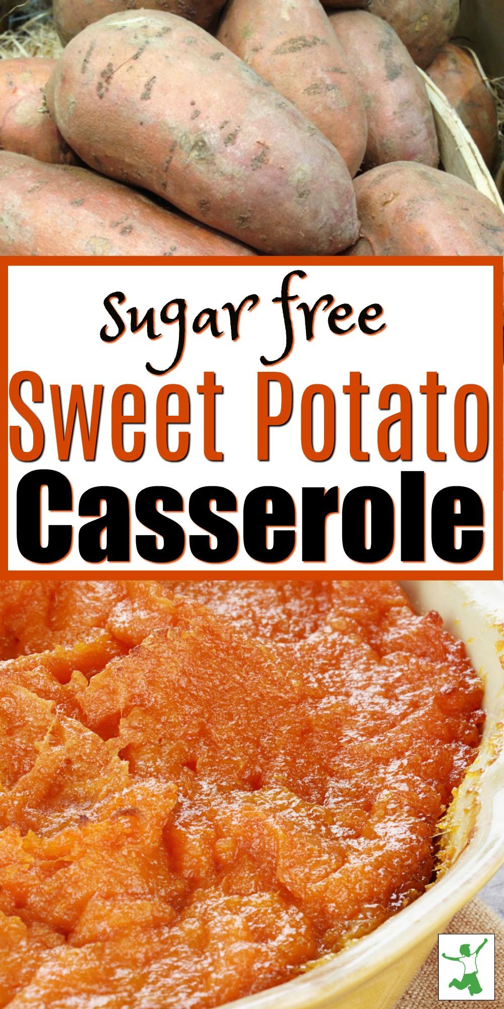 sugar free sweet potato casserole in a dish