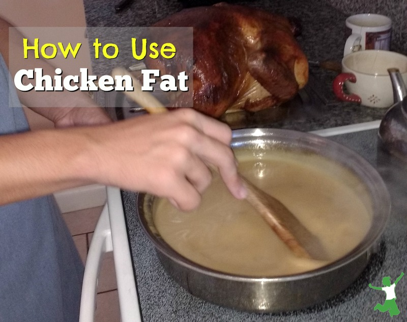 woman stirring chicken fat in a pan to make gravy