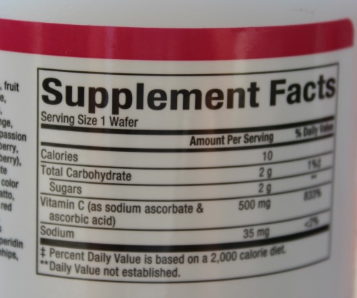 Synthetic vitamin C label