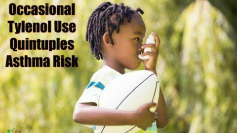 child taking tylenol using an inhaler