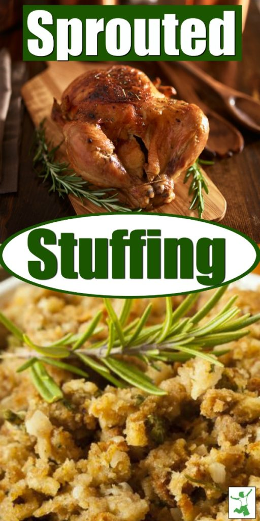 traditional sprouted stuffing next to a turkey