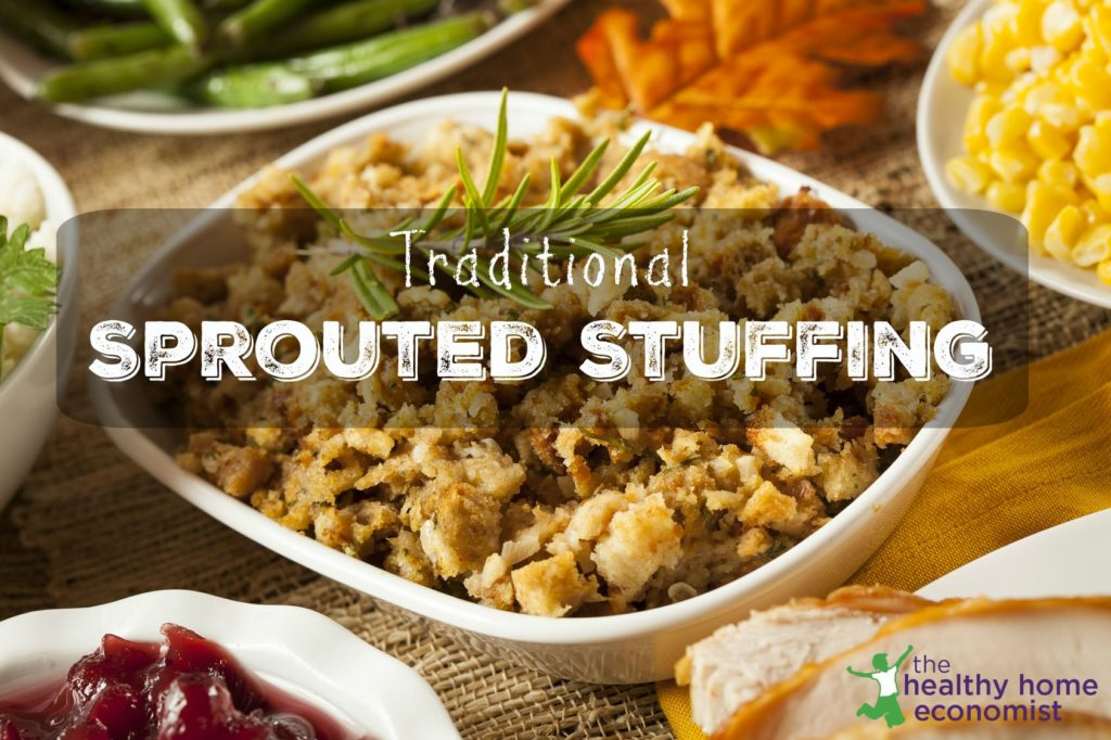 sprouted stuffing in a casserole dish