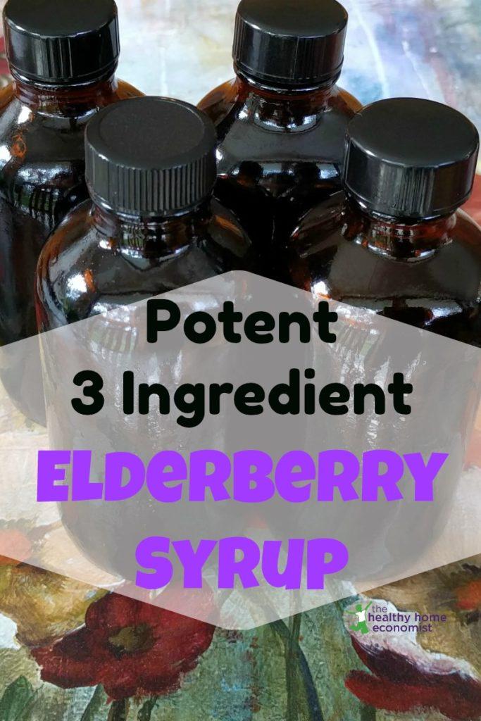 homemade elderberry syrup in bottles