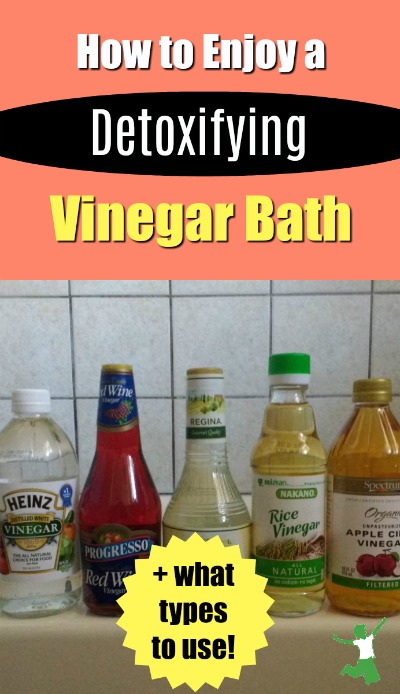 types of vinegar lined up on a bathtub