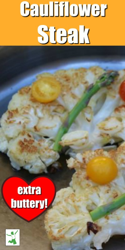 buttery cauliflower steak in a pan