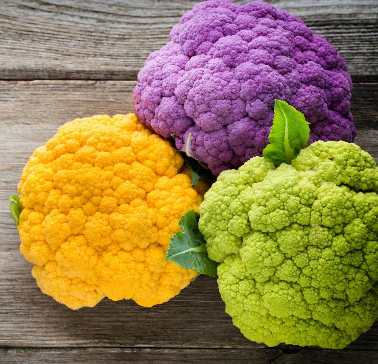 organic rainbow colored cauliflower