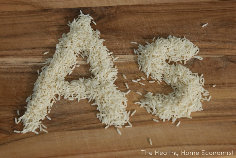 basmati rice high in arsenic on a cutting board