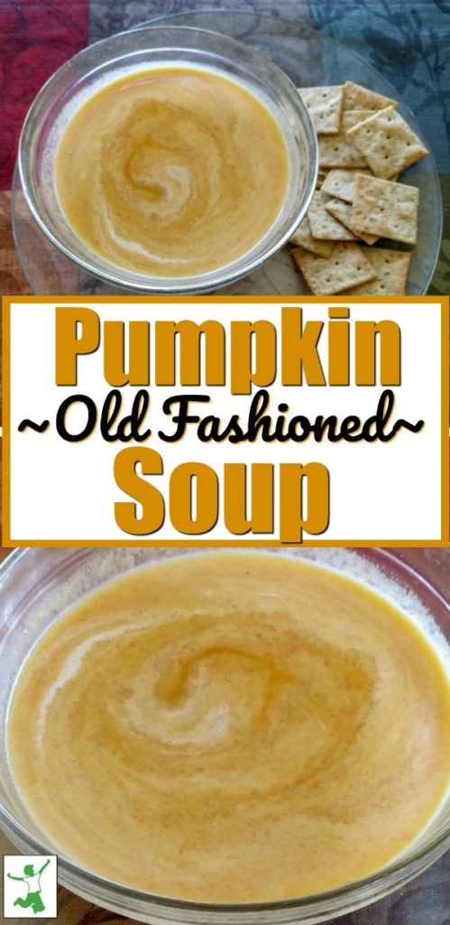 old fashioned pumpkin soup in a glass bowl with crackers