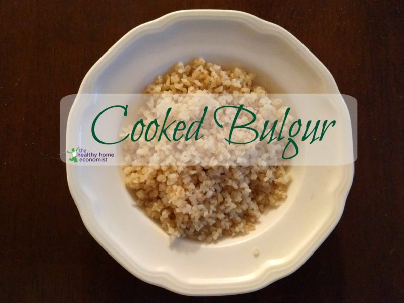 cooked bulgur in a white bowl