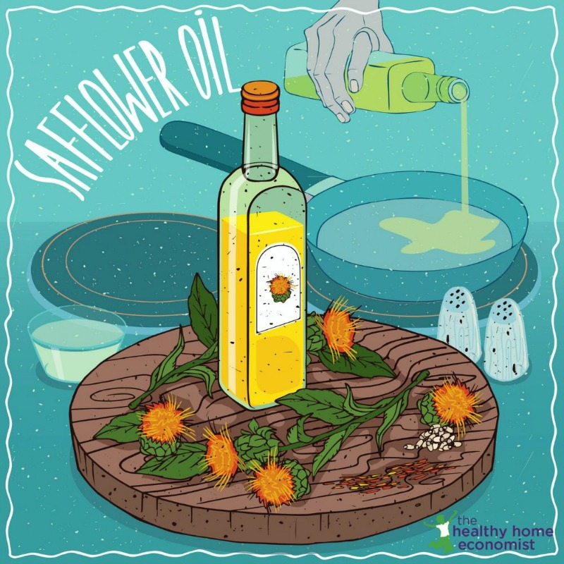 safflower oil in a bottle