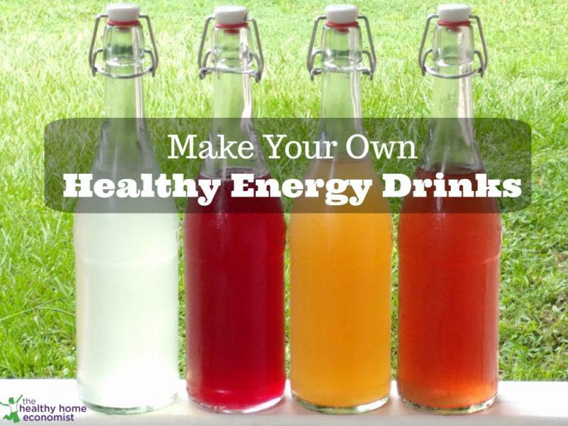 four glass bottles of natural DIY energy drinks