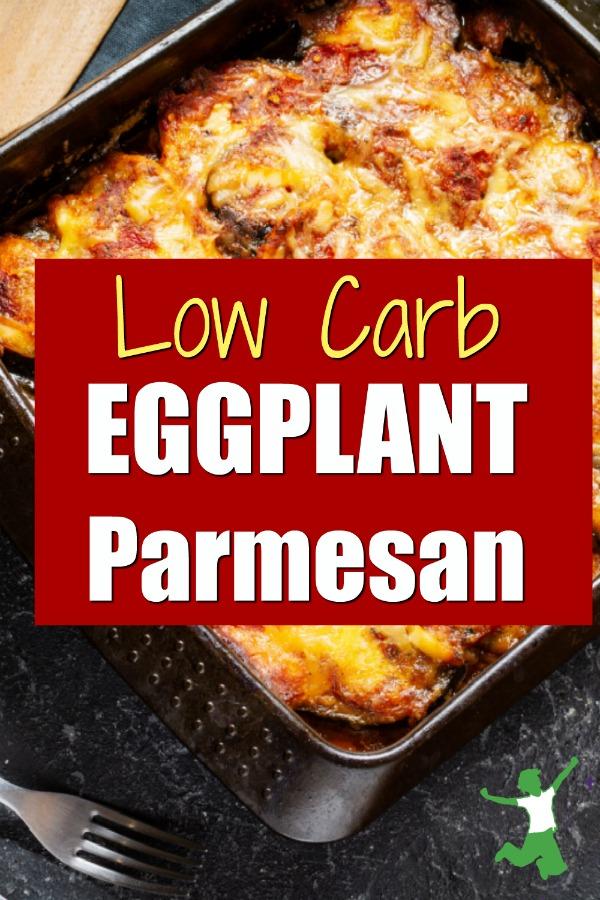 baking pan of low carb eggplant parmesan