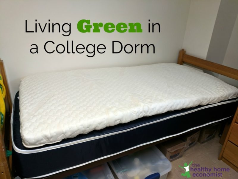 bed mattress with topper in a college dorm room