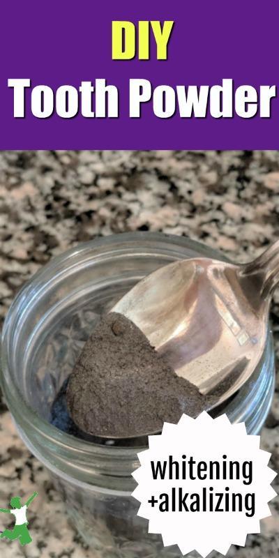 diy tooth powder in a small glass jar