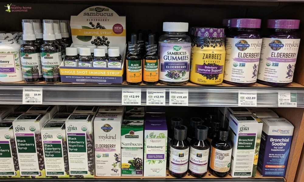 healthfood store elderberry syrup and gummies