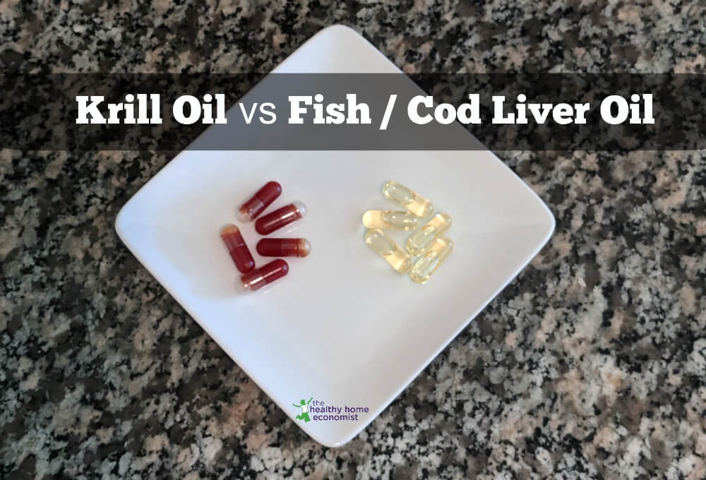 krill oil and cod liver oil capsules on a white plate