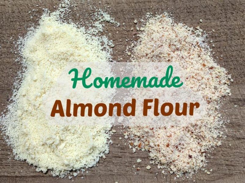blanched and whole almond flour on cutting board