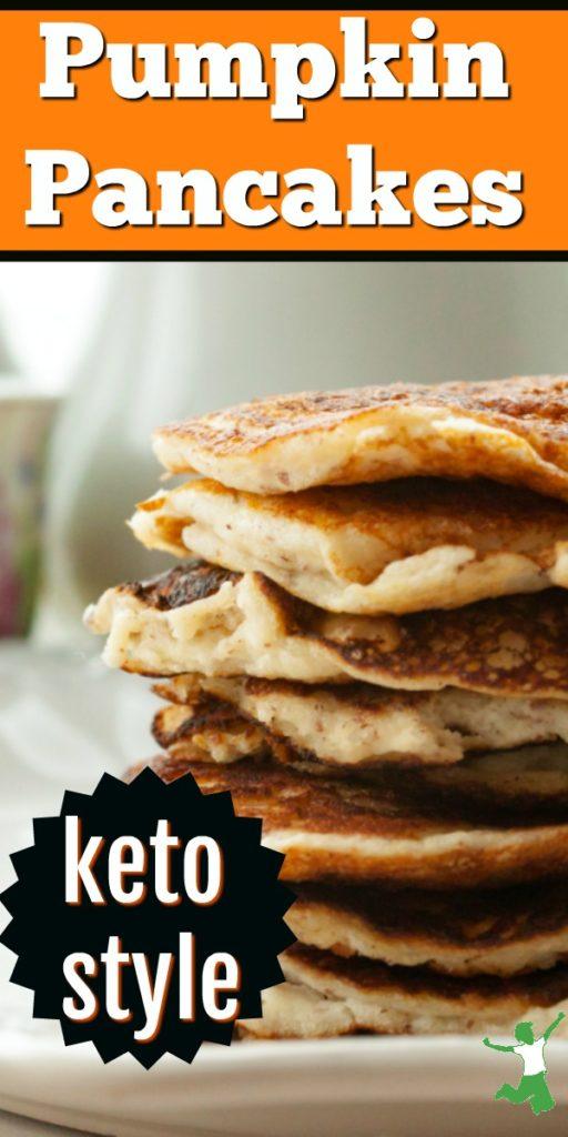 keto style pumpkin pancakes on a platter