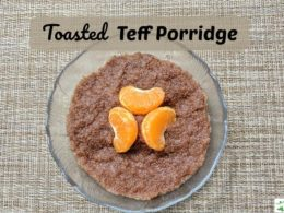 toasted teff porridge with fruit
