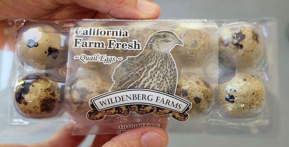 box of fresh quail eggs