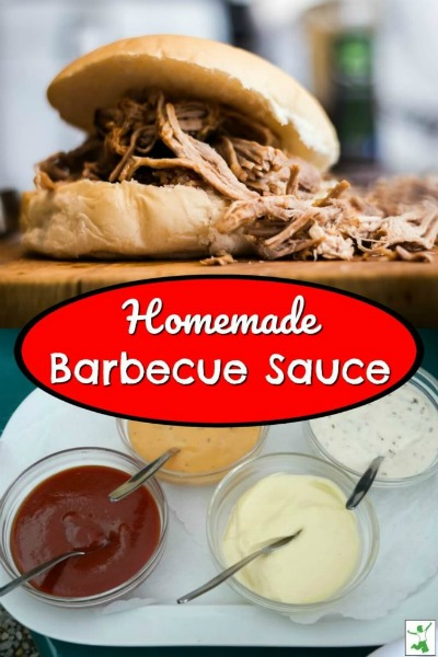 barbecue sauce added to a pulled pork sandwich