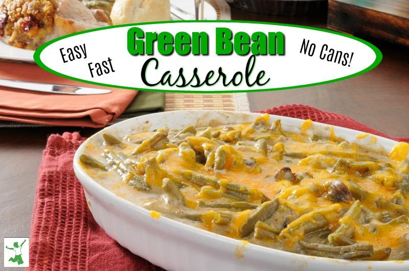 healthy green bean casserole on a able