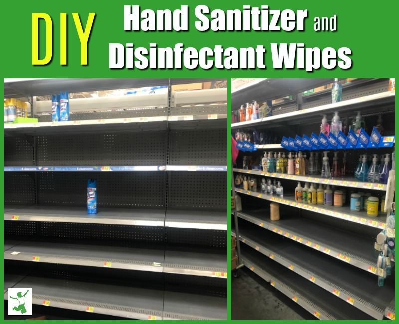 homemade disinfectant wipes and hand sanitizer