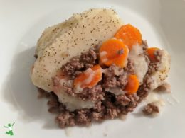 piece of Shepherd's Pie on a white plate