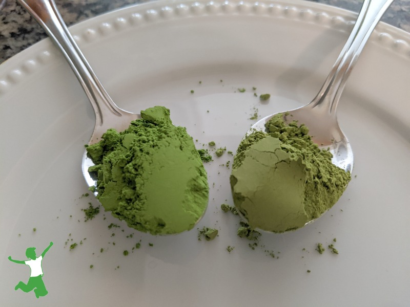 spoonful of decaf matcha and regular matcha tea on a white plate