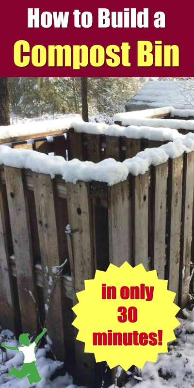 diy wooden compost bin outside in the snow