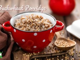 buckwheat porridge in a bowl on a wooden table