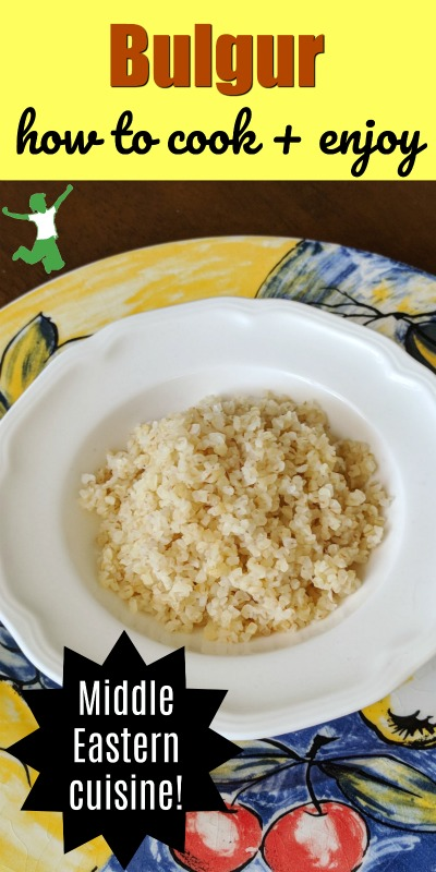 cooked bulgur wheat in a bowl on a table