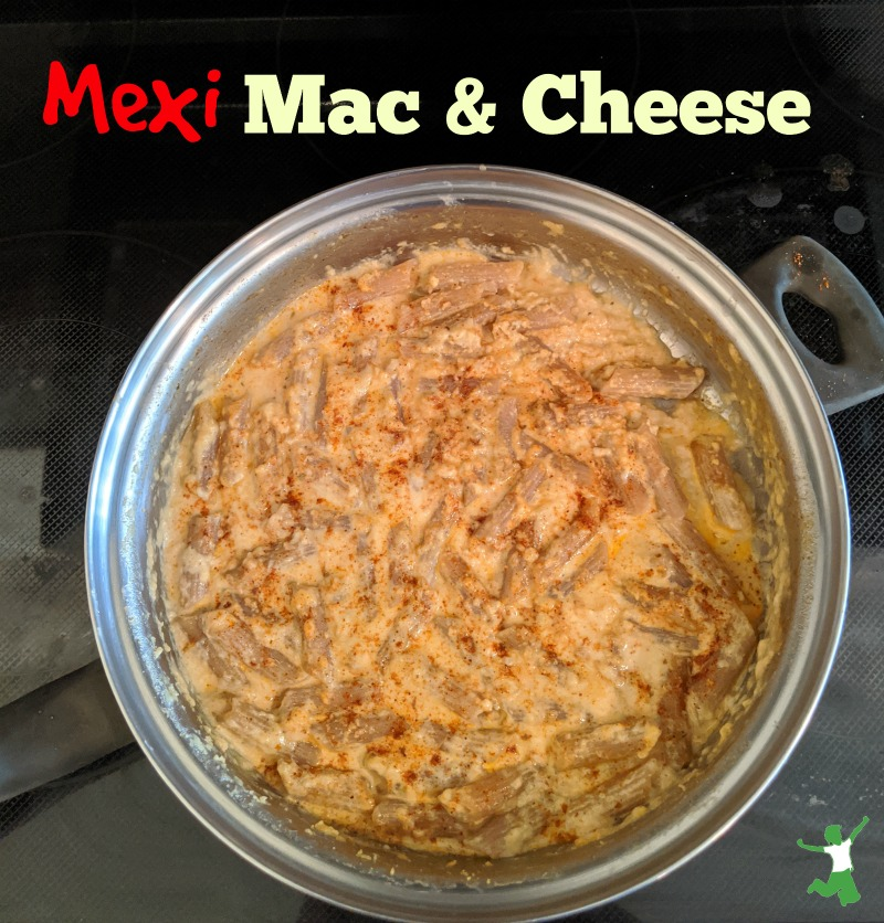 large pan of mexican mac & cheese on the stovetop