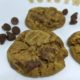 sprouted peanut butter chocolate chip cookies on a platter