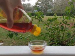 woman pouring pure honey into a bowl