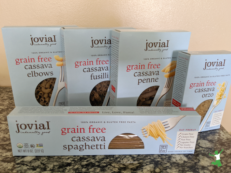 grain free cassava pasta boxes