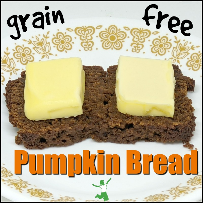 slice of low carb pumpkin bread with butter