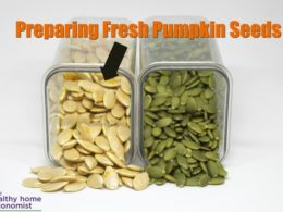 fresh white pumpkin seeds next to pepitas